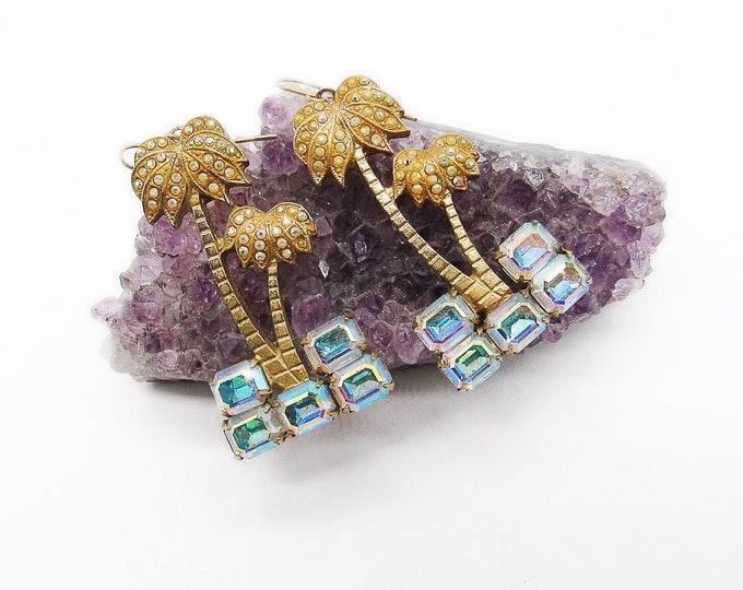 Vintage Kirks Folly gold tone Swarovski Aurora Borealis rhinestone signed Palm Tree earrings