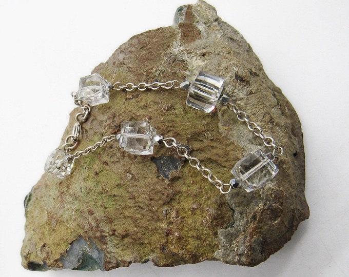 Brilliant vintage Art Deco Sterling silver Rock Crystal accented signed chain link bracelet