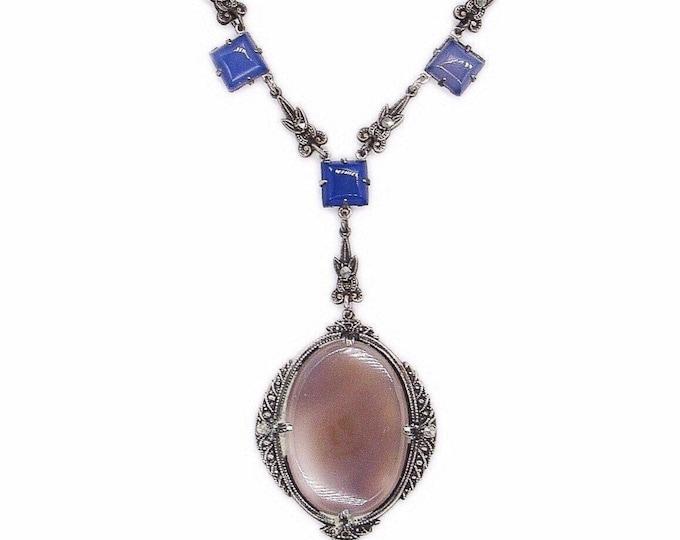 Beautiful Art Deco Antique Sterling Silver Marcasite Rose Quartz Czech Glass signed lavaliere necklace circa 1910s
