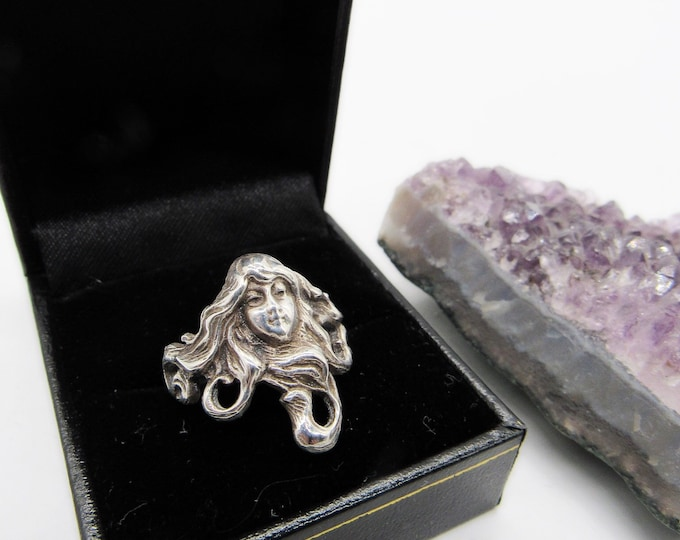 Vintage Art Nouveau Sterling Silver Woman Maiden signed size 8 statement ring