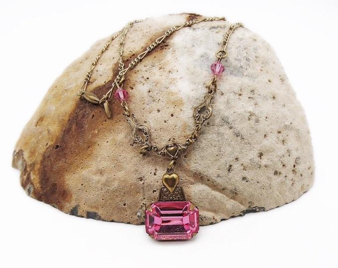 Sadie Green vintage Victorian Revival antiqued gold tone Faceted Crystal Designer Necklace