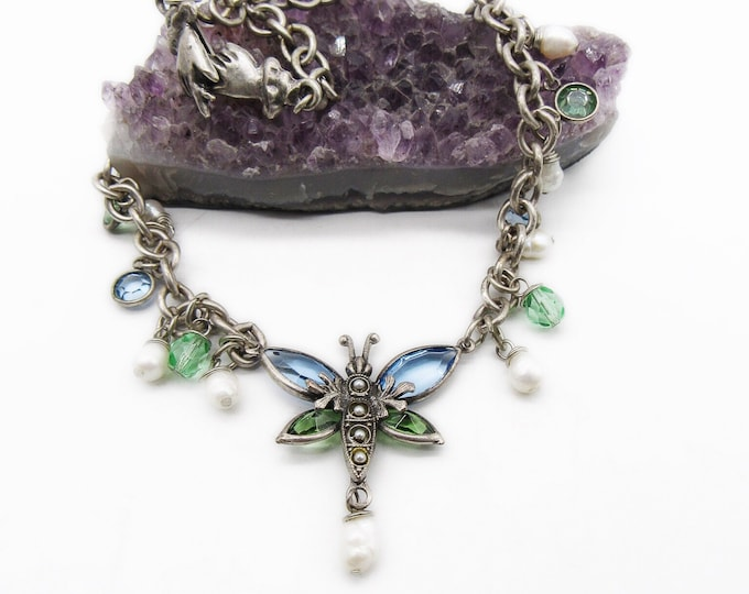 Vintage Mary DeMarco retired silver tone faceted crystal fresh water pearl signed Butterfly necklace