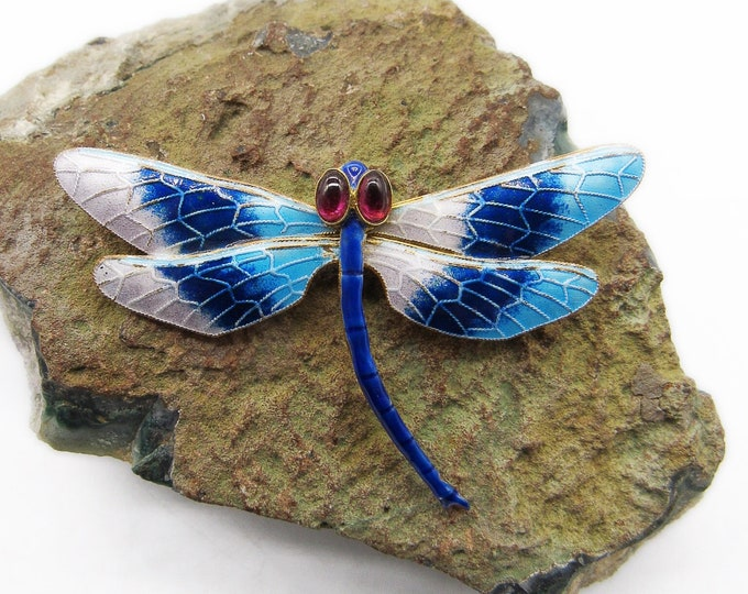 Exceptional vintage Shashi Sterling Silver gold washed Chinese Export Enamel Garnet stone Dragonfly signed brooch
