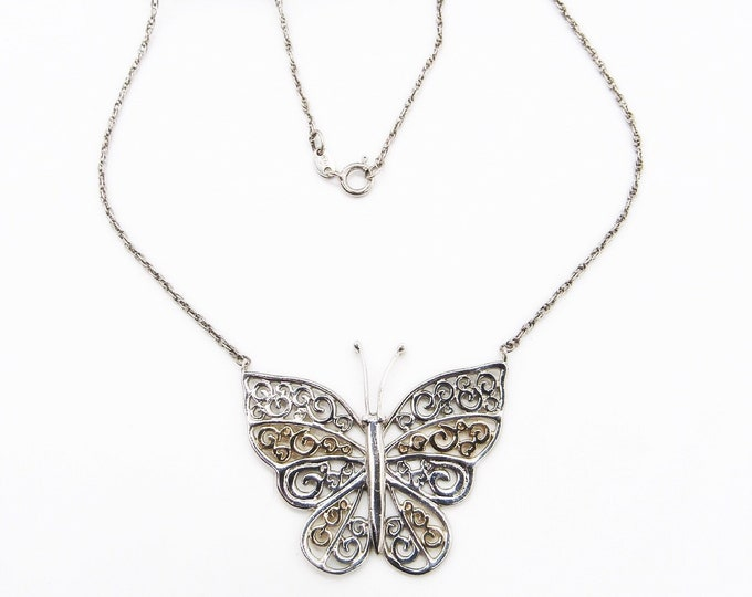 Vintage SA signed Sterling Silver and 10k gold filigree Butterfly pendant necklace