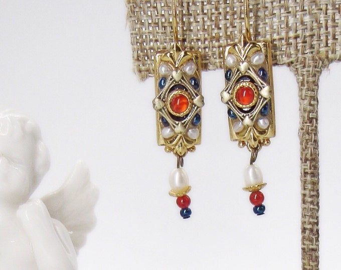 Michal Golan vintage Victorian Edwardian revival gold plated pearl garnet and beads signed earrings