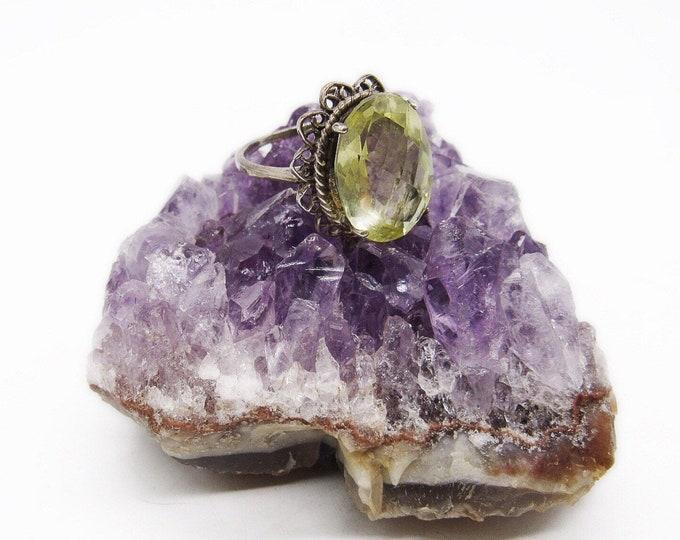 Mid Century vintage Sterling Silver faceted Lemon Quartz Crystal size 10 signed Statement Ring