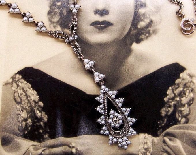 Vintage Tara & Sons Victorian Revival Sterling Silver faceted Marcasite genuine Seed Pearl accented Designer Necklace