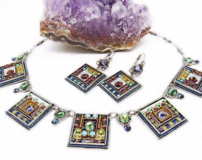 Beautiful vintage Adaya by Maya Rayten of Israel silver tone faceted Austrian Crystal Czech Glass handcrafted Designer Necklace Earrings Set