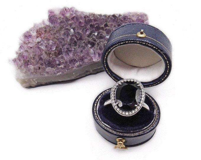 Pandora vintage Legacy Sterling Silver Black Spinel faceted Cubic Zirconia size 8 Designer Statement Ring