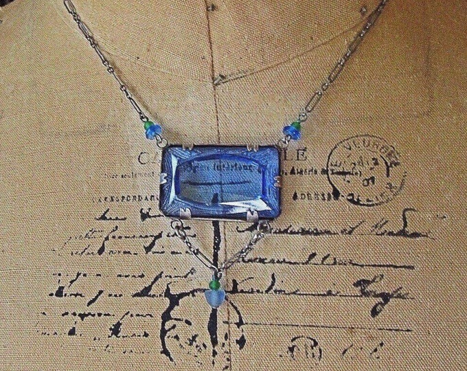 Lucy Isaacs NYC vintage Sterling Silver faceted Sapphire Blue Czech Glass signed lavaliere necklace