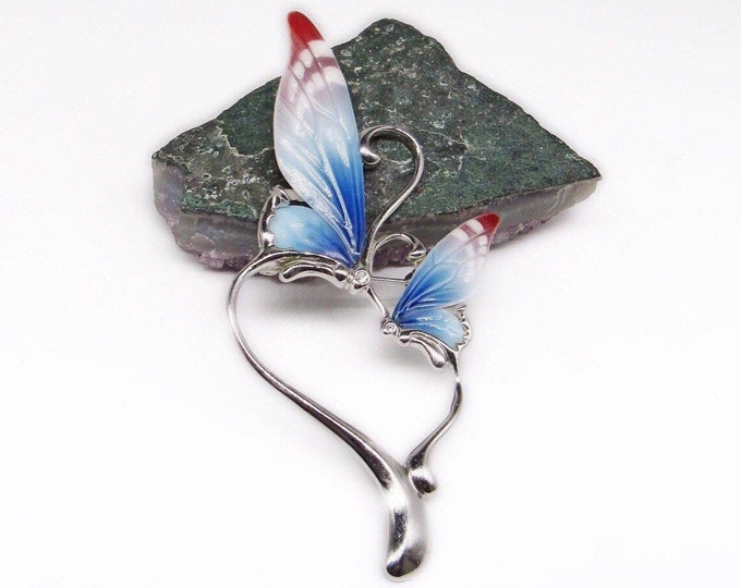 Designer Franz vintage Rhodium plated handcrafted fine Porcelain faceted Crystal Butterfly Heart Statement Brooch