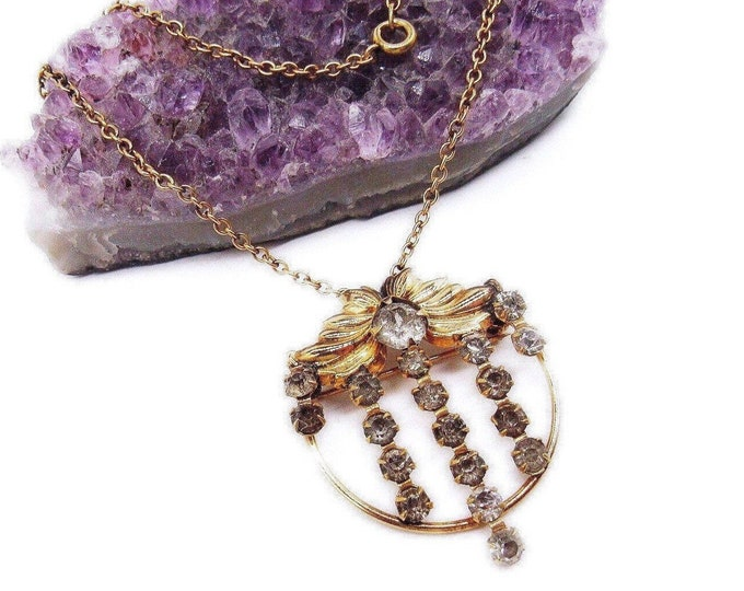 1950s AMCO vintage 12k Gold Fill faceted Rhinestone Paste accented signed Pendant Necklace