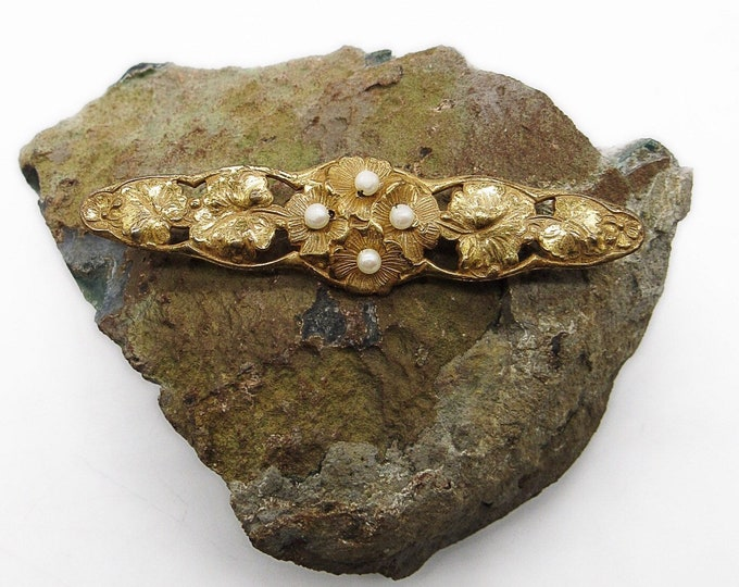 Vintage Estate Miriam Haskell antique Russian gold gilt seed pearl 1940s exquisite signed brooch