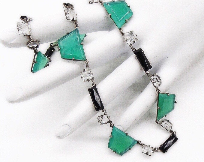 Antique Art Deco Sterling Silver Chrysoprase, Jet Glass and faceted Crystal signed Choker Necklace