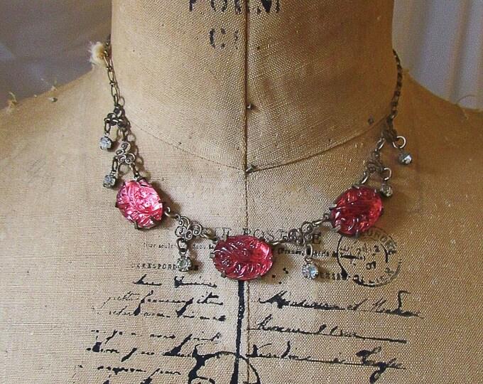 Glass Works Studio Ltd vintage Art Deco revival antiqued brass molded rose glass and rhinestones signed bib necklace