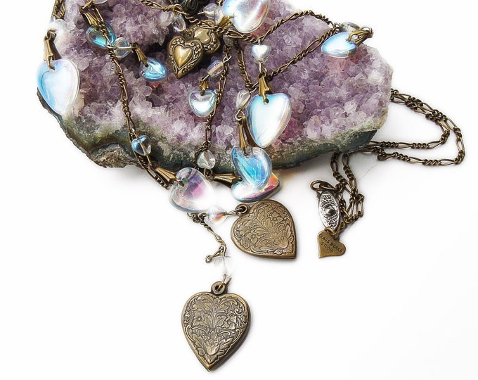 Glass Works Studio Ltd jewelry vintage Victorian revival opalescent glass and decorative brass Heart charms and lockets signed necklace