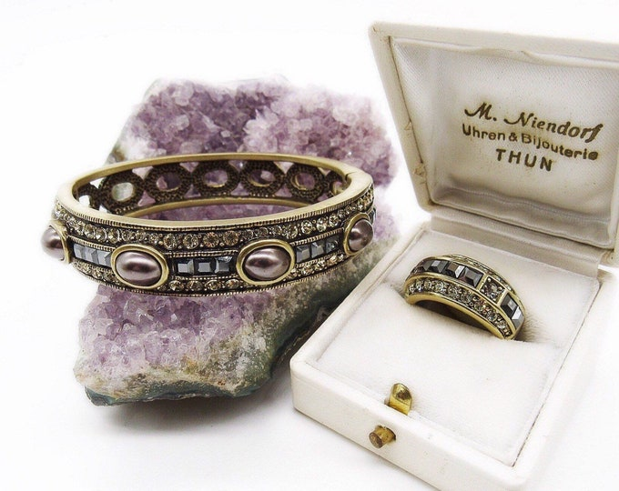 Heidi Daus vintage Art Deco revival oxidized brass with simulated Pearl and Swarovski Crystal signed bracelet and ring designer set