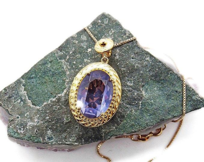Vintage Sari Krishna Sterling Silver Vermeil decorative set faceted Amethyst signed Designer pendant Necklace