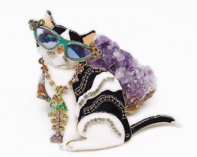Whimsical Lunch At The Ritz vintage golden tone Austrian Crystal Enameled Cat with Glasses and Fish Bone Designer Brooch