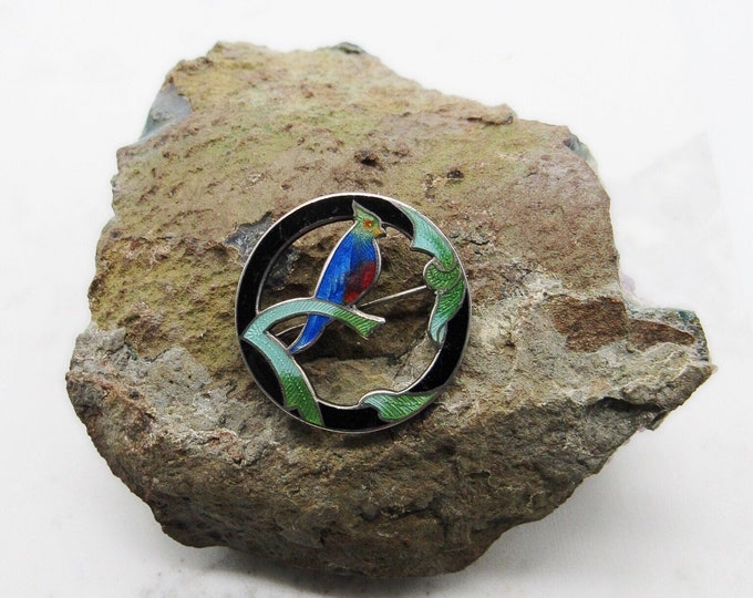 Antique Victorian/Arts and Crafts Sterling Silver decorative Enameled Bird circular signed brooch