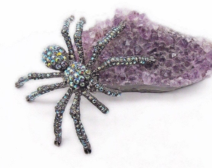 Kirks Folly Spooky retired gunmetal finish faceted Aurora Borealis encrusted Spider designer Brooch