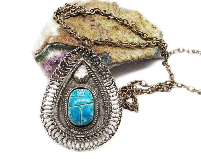 1970s Vintage Egyptian Revival Runway silver tone Turquoise Faience Scarab Haute Couture Long Pendant Necklace