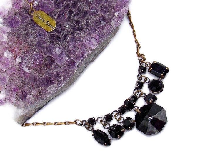 Clara Beau vintage antiqued brass tone faceted Jet Black glass crystal signed Charm Necklace