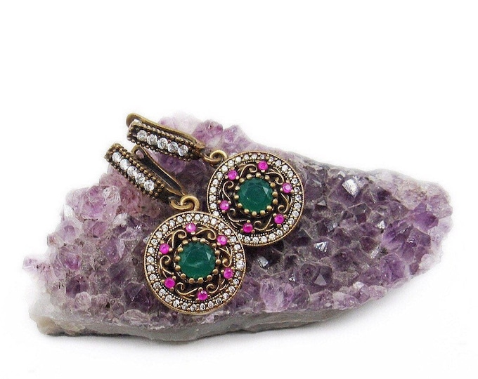 Beautiful vintage Sterling 925 Gold Vermeil faceted Emerald Ruby and Topaz gemstones decorative Ottoman Turkish handcrafted Earrings