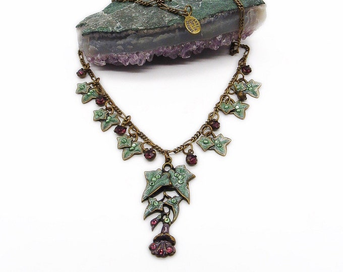 Beautiful vintage Anne Koplik antiqued brass tone Enamel Ivy and faceted crystal signed necklace