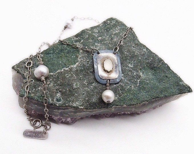 Vintage Holly Yashi retired Sterling Silver fresh water pearl Niobium Enamel signed pendant necklace