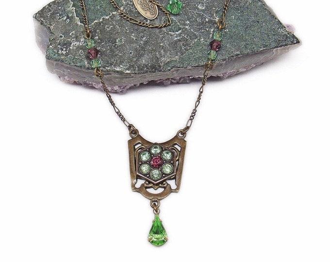 Liz Palacios vintage antiqued brass tone faceted Swarovski Crystal signed Designer Necklace