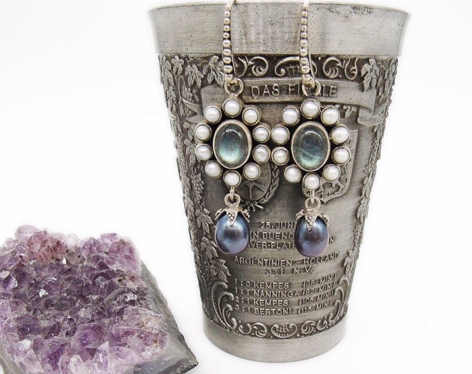 Sterling Silver Labradolite Authentic Seed and Black Pearl decorative signed Drop Earrings
