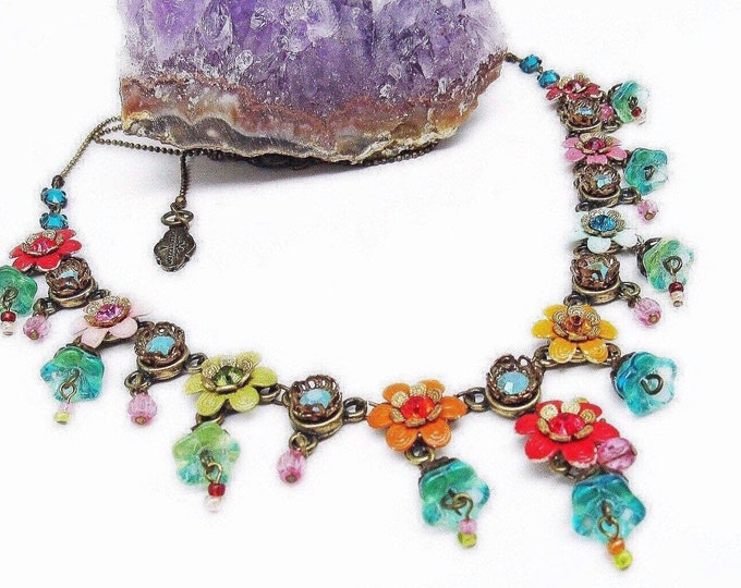 Vintage Orly Zeelon Romantic handcrafted Floral Enamel Metalwork Crystal accented Glass Lamp Work Designer Necklace