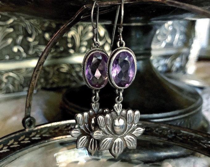 Unique vintage Art Nouveau Revival Sterling Silver faceted Amethyst Crystal Lotus Flower stamped Drop Earrings