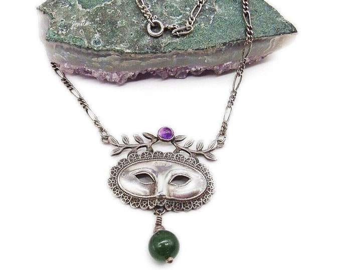 Beautiful Whimsical vintage Sterling Silver smooth Amethyst and Aventurine accented Masquerade Mask Necklace