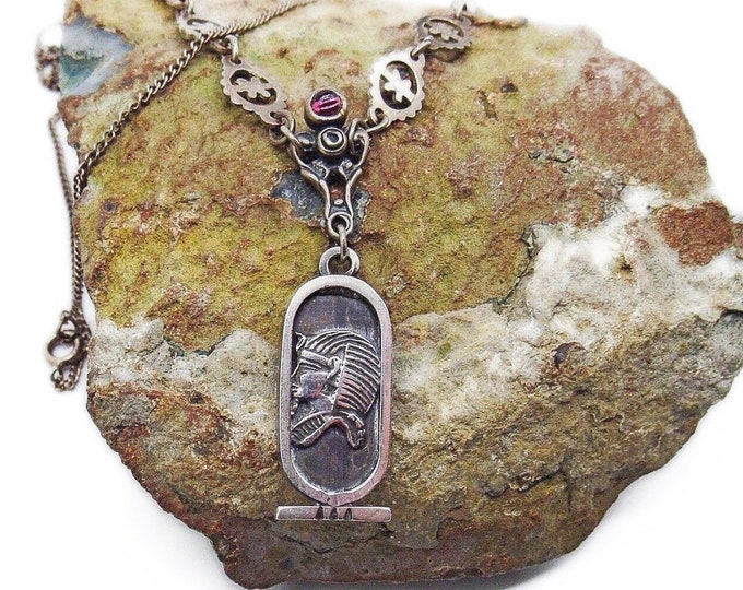 Antique Egyptian Revival Sterling Silver Pharaoh King Tut Scarab Ruby Red Cabochon signed Pendant Necklace