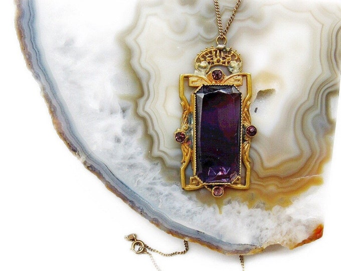 Vintage Art Deco 1930s 800 silver Vermeil faceted Emerald cut Amethyst Purple Czech Glass decorative Pendant Necklace