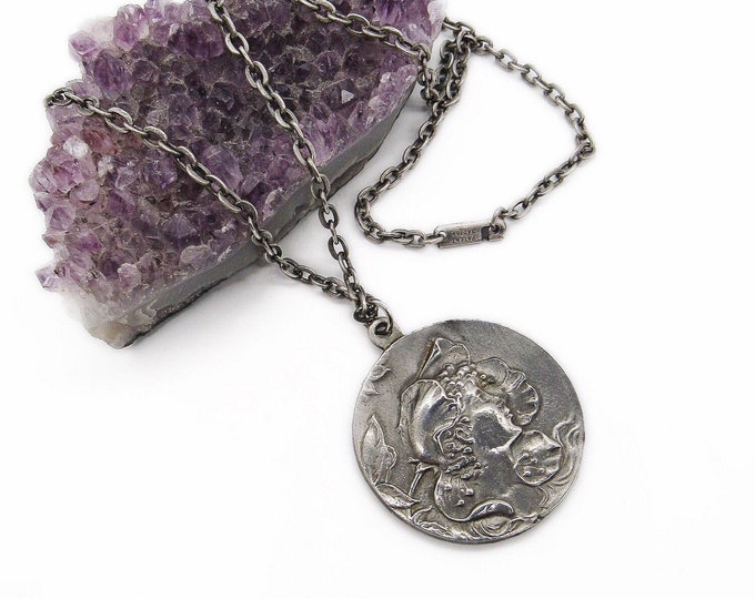Vintage Art Nouveau revival Colonial Pewter by Boardman Maiden with Flowers Medallion pendant necklace