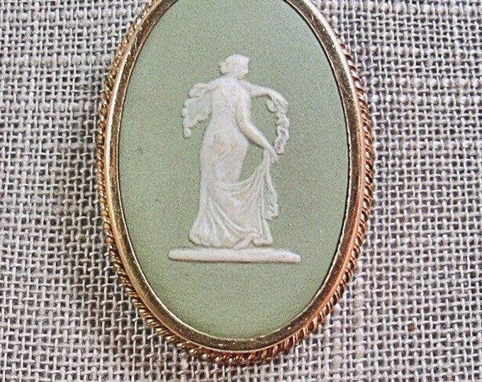 Vintage Wedgewood jasperware  goddess gold tone signed brooch