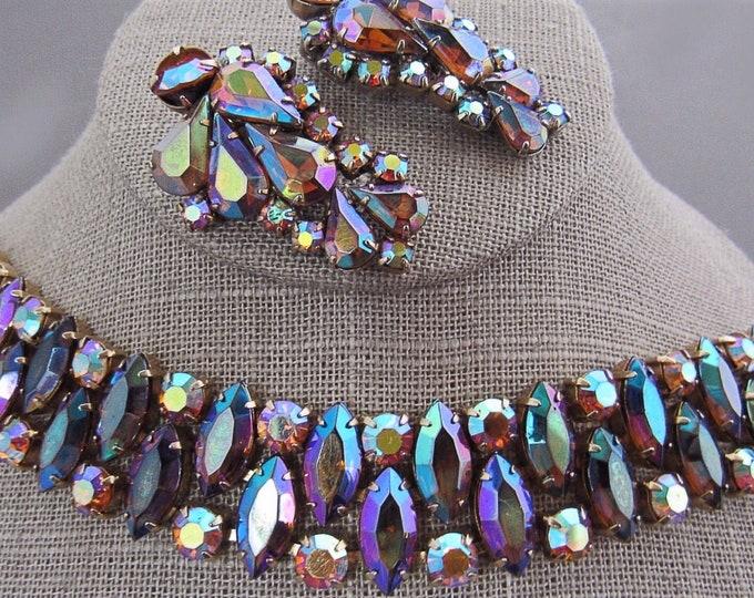 1950's Sapphire Aurora Borealis rhinestone Demi parure rare!
