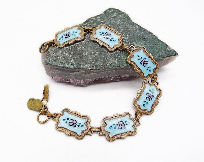 Pididdly Links Ltd vintage Victorian Revival antiqued brass tone Enamel Floral Motif signed Link bracelet