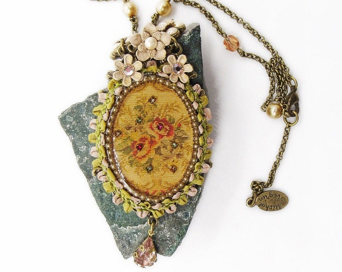 Gorgeous Michal Negrin Vintage Victorian revival handcrafted Floral Fabric Swarovski Crystal Laced Cameo pendant necklace