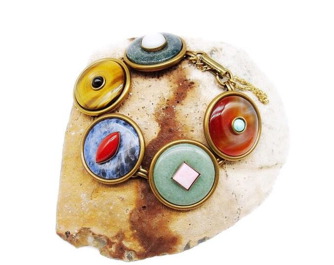 Jan Michaels of San Francisco vintage Modernist solid brass Semi Precious Stone signed Designer Bracelet