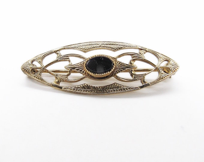 Vintage Art Deco gold filled scroll work with Onyx signed brooch