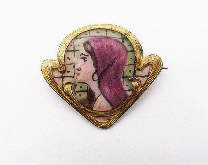 Art Nouveau brooch rare scrolled gold wash hand painted porcelain Woman portrait pin circa 1900-1910s