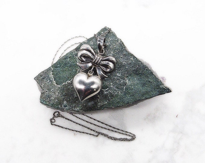 Vintage 1980s Sterling Silver Puffy Heart with Bow signed pendant necklace