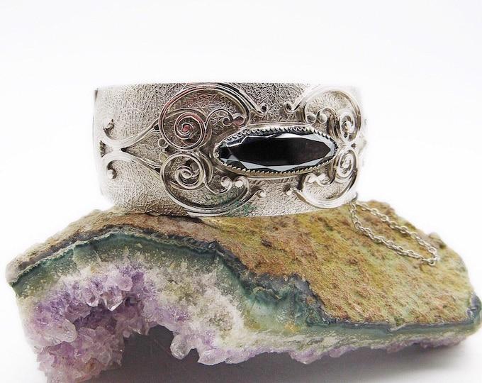 Whiting and Davis vintage Victorian styled decorative silver toned faceted Hematite signed designer clamper bracelet