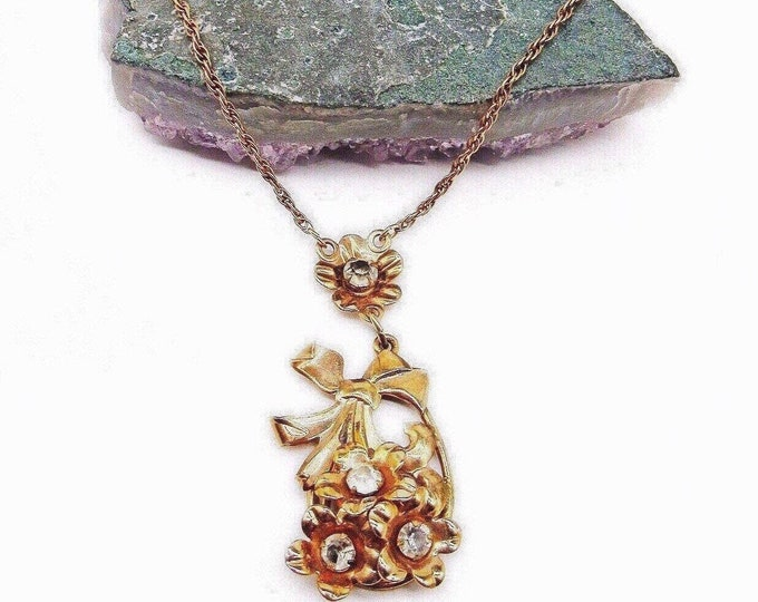Vintage 1930s McClelland Barclay Gold Filled faceted Rhinstone Floral Motif Necklace