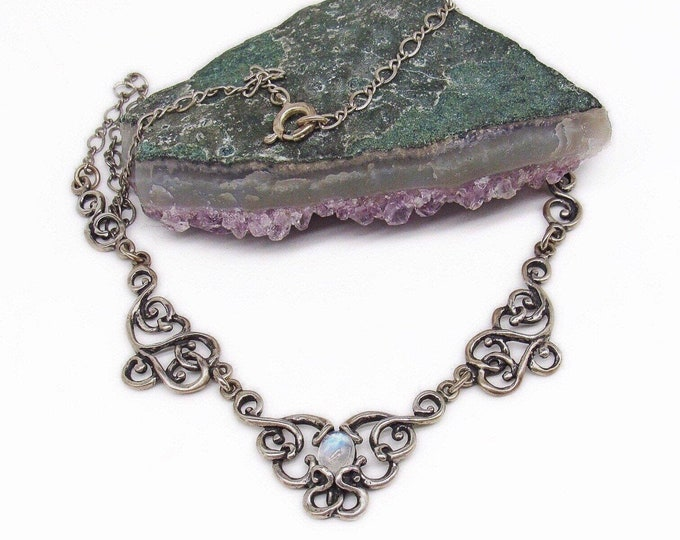 Vintage 1970s Sterling Silver Art Nouveau Revival Moonstone Accented signed Artisan Bib Necklace