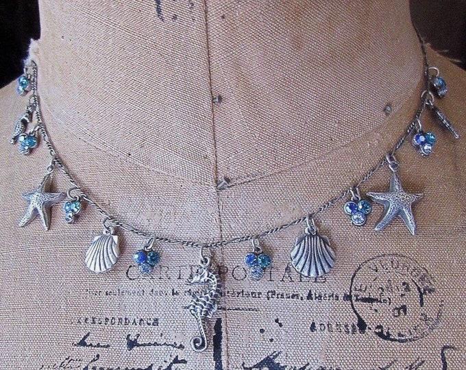 Anne Koplik Designs vintage Sterling Silver plated faceted Crystal Ocean theme Sea Life signed charm necklace